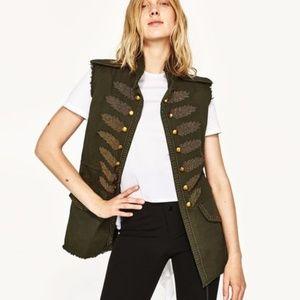 Zara Woman Military Vest Sz S